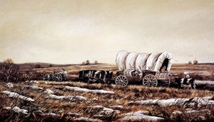 Covered Wagon heading west 1875