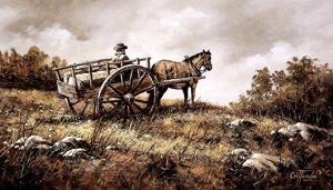 Early Settlers Red River Cart pauses for a rest 1820