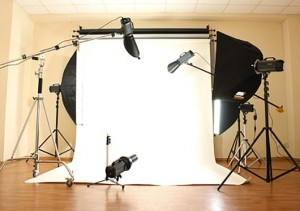 Fine Art Photography: Empty photo studio with lighting equipment