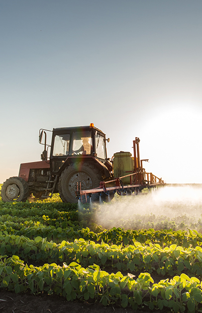 Tractor spraying soybean field at spring. Factory Farmed Food.